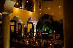 Courtyard reception with live music and string of lights, Mexico Hacienda Wedding, Wedding Reception, destination wedding, wedding photography, Puerto Aventuras, Riviera Maya Luxury Weddings, Juan Euan Photography
