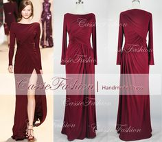Long Sleeve Floor Length Draped Prom Dress, Bridesmaid Dress, Wedding Dress,Evening Gown,Cocktail Dress