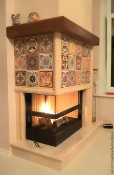 Tile kaminyIzraztsovy fireplace in Arabic style with relief tiles, painted . Home Fireplace, Fireplace Design, Fireplace Mantels, Fireplaces, Interior Exterior, Interior Architecture, Interior Design, Double Sided Fireplace, Brick Design