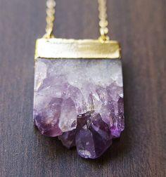Amethyst Stalactite Druzy Necklace 14k Gold by friedasophie