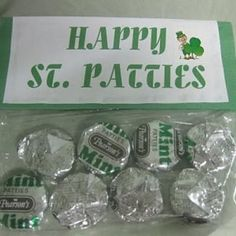 St. Patrick's Day treat bags with mint patties.