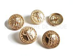 5 boutons éléphant en métal doré 20 mm - Bouton à coudre : Boutons par une-histoire-de-mode