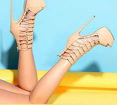 BEIGE CRINKLE FAUX LEATHER STRAPPY PEEP TOE PLATFORM HEEL BOOTIE,$39.99 Crinkle faux leather upper in a platform bootie heel style with open toe, strappy detail, back zipper closure. Faux leather lining and footbed. Tonal stitching. 1 3/4 inch platform and 6 1/4 inch heels. #shoes #highheels #heels #heelsfashion #heelshoes #pumps #pumpheels #heelpumps #platformheels #fashonstyle #welovefashion #worldoffashion #platformheels