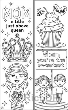 Coloring Bookmarks for Mothers #mothersday #coloring #bookmarks #DIY