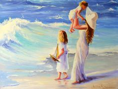 This listing is for of a x oil on stretched canvas painting as per photograph provided. Beach Canvas Art, Beach Art, Seascape Art, Painting People, Beach Kids, Pretty Art, Art Pictures, Original Paintings, Art Gallery