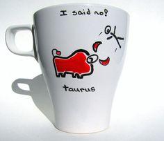 Taurus Mug Mug Gemini Cancer Leo Virgo Libra Scorpio Sagittarius Capricorn Aquarius Pisces Aries Mug Wholesale bulk. $11.95, via Etsy.