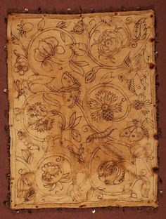 Reverse side of theherb pillow, showing the design drawn out and stitched in black before working [see the front of this item]linen, ink, silk thread, passementrie, spanglesc.1600