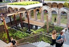 Paddington Reservoir Gardens in Sydney  Sydney also has an impressive adaptive reuse project to create a beautiful urban green space. The ruins of a public waterworks was magically transformed into the Paddington Reservoir Gardens with enough history to give you the feeling you're walking around the Acropolis. And since it used to be a waterworks, water efficiency is still a high priority. In fact, rainwater is collected on-site for landscape irrigation.