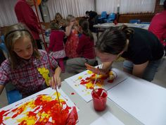 Pentecost fire paintings - blow art using straws, red/yellow paints  (thanks to Lismore Messy Church)