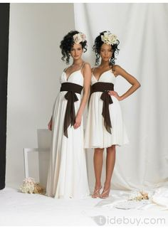 This says for bridesmaids but I think the long one is a nice wedding dress. Change the color of the belt! Pretty!