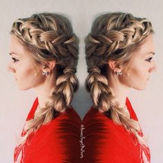 How To: Dutch braid on top, french braid wrapped around the bottom going into a pull through braid.