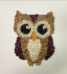 100 Days of School Sculpture: Owl Bean Mosaic