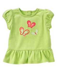 New Gymboree Baby Girl's Infant Butterfly Spring Green Shirt 0-3 or 3-6 M NWT