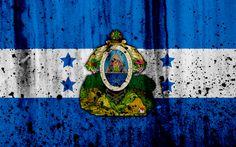 Download wallpapers Honduran flag, 4k, grunge, flag of Honduras, North America, Honduras, national symbols, coat of arms of Honduras, Honduran coat of arms, Honduras national emblem