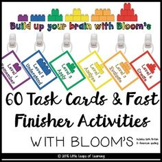 Task cards and fast finisher activities based on Bloom's taxonomy. Have your students practice important thinking skills such as comparing, examining, ordering, judging as a fast finisher activity! It works with any topic or unit you are working with all year round.Use this resource in two ways - as whole class creative thinking lessons, or as independent fast finisher activities.
