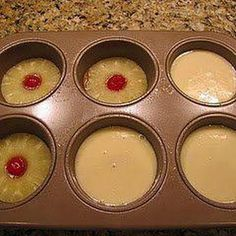 Pineapple Upside Down Cake in a Muffin Pan | See more about muffin pans, pineapple upside and pineapple upside down.
