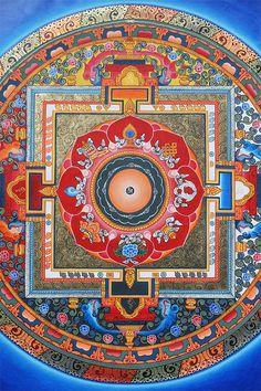 Buddhist Mandala Thangka painting featuring the Om symbol and the eight Ashtamangala: the most auspicious symbols of Vajrayana and Mahayana Buddhism.