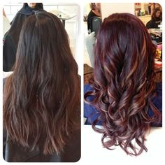 "#ShareIG ""Before After"" She didnt want to go too light. She wanted violet red tones with just a few piece of dark beige (caramel) flash highlights. Her color looks so rich, she feels like a million bucks with her new hair! Hair by Christine Trang.. #tagyourfriends @Christines_touch @christines_touch @christines_touch"