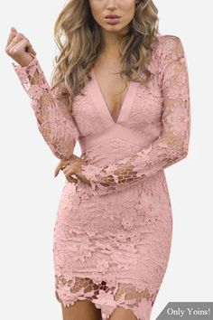We all love sexy lace details dress, so bring attention to this mini dress. There is v-neck, long sleeves, hollow out, open back, self-tie at back and lace details. Killer your look with high heels. -