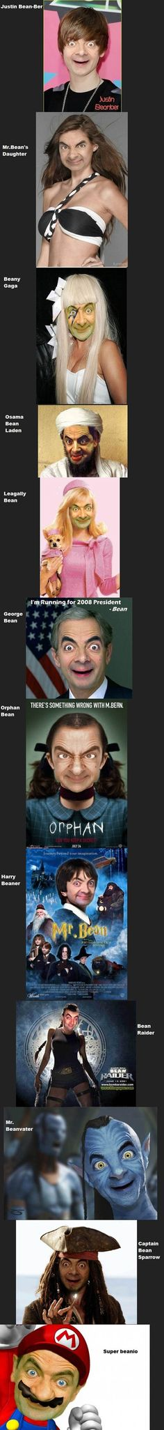 Mr. Bean..... Scary, just scary..... Mr Bean Memes, Mr Bean Funny, Mr Bean Photoshop, Funny Photoshop, Laughing So Hard, Laughter, Mr. Bean, Laugh Out Loud, Orphan