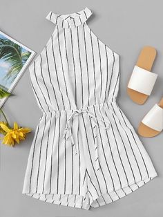 ROMWE offers Drawstring Waist Striped Romper & more to fit your fashionable needs. ROMWE offers Drawstring Waist Striped Romper & more to fit your fashionable needs. Cute Casual Outfits, Cute Summer Outfits, Stylish Outfits, Teen Fashion Outfits, Outfits For Teens, Girl Fashion, Vetement Fashion, Cooler Look, Teenager Outfits