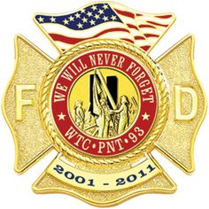 We Will Never Forget WTC-PNT-93 - Maltese Cross 9/11 Firefighter Lapel Pin, Gold