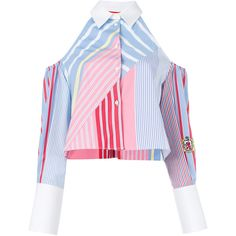 Tommy Hilfiger Cold shoulder striped shirt ($307) ❤ liked on Polyvore featuring tops, multicolour, long sleeve shirts, multi colored striped shirt, long sleeve cold shoulder tops, colorful striped shirt and stripe shirt