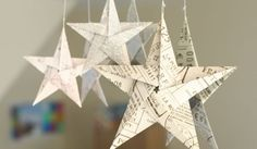 5 pointed origami star Christmas ornaments - step by step instructions. Do these with sheet music, or with wrapping paper and attach to matching package instead of a bow.