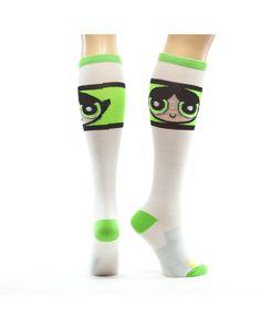 bf4b119e5 Powerpuff Girls Green Stripe Knee High Socks. Buttercup! Girls Accessories