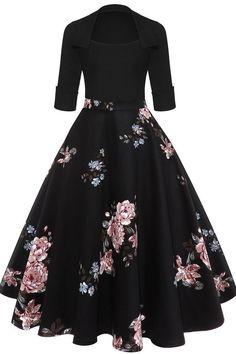 Women 2019 Floral Print Black Midi Vintage Flare Dress Vestidos Square Neck Ball Gown A Line Party Dress Black 1 XL Ball Gown Dresses, Fall Dresses, Pretty Dresses, Beautiful Dresses, Skater Dresses, Floral Dresses, Elegant Dresses, Cotton Dresses, Evening Dresses