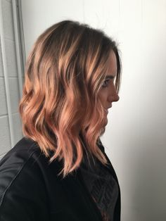 Rose gold lob with loose curls