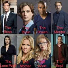Criminal Minds Profiles. Hotch - The Boss. Reid - The Brain. Morgan - The Brawn. Rossi - The Mentor. Prentiss - The Lone Wolf. JJ - The Mother. Garcia - The Heart. Gideon - The Soul