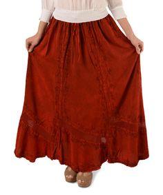 Look at this #zulilyfind! Red Medieval Embroidered Maxi Skirt #zulilyfinds