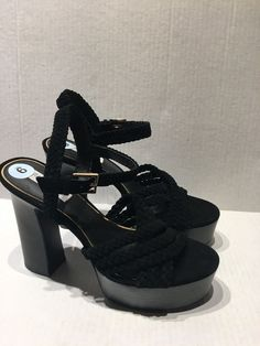 29e5a1402bf Rachael zoe womens hallah black fabric open toe platforms sz 9 nwob