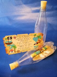 Pirate party ideas.... would be cool to use the message in a bottle idea for treasure hunt