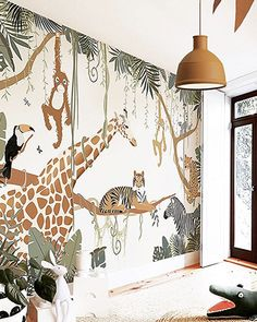 Safari Kids Rooms, Cool Kids Rooms, Safari Nursery, Safari Bedroom, Kids Room Murals, Nursery Wall Murals, Nursery Room, Boys Bedroom Wallpaper, Giraffe Room
