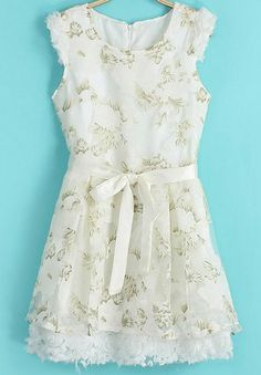 White Sleeveless Contrast Lace Floral Dress US$27.17