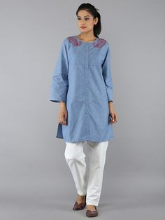 Blue Button Down Cotton Embroidered Tunic