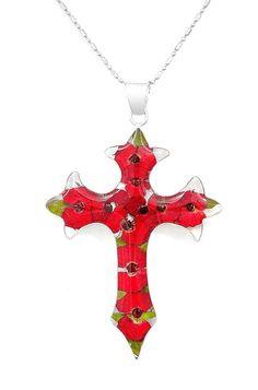 Sterling Silver Natural Mini Rose Crucifix Crucifijo Cross Pendant Taxco Mexico #HandMade #Cross
