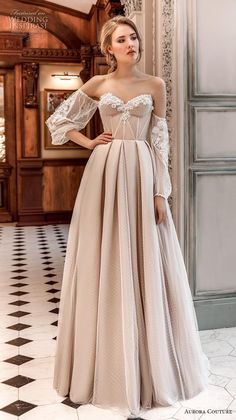 "Aurora Couture 2019 Wedding Dresses — ""Russian Glory"" Bridal Collection aurora couture 2019 bridal off the shoulder bishop sleeves strapless sweetheart neckline lightly embellished bodice bustier simple a line wedding dress sweep train Elegant Dresses, Pretty Dresses, Vintage Dresses, Beautiful Dresses, Beautiful Live, Wedding Dress Tea Length, Boho Wedding Dress, Boho Dress, Modest Wedding"