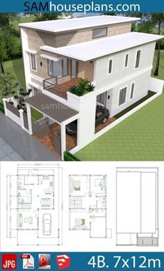 House Plans with 4 Bedrooms Plot – Sam House Plans House Plans with 4 Bedrooms Plot 2 Storey House Design, Duplex House Design, Simple House Design, House Front Design, Modern House Design, House Plans Mansion, Duplex House Plans, Dream House Plans, Small House Plans