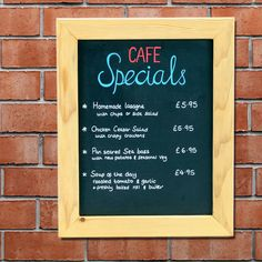 Wall mounted chalk boards, blackboards for hanging on a wall.  Perfect for use with our liquid chalk markers and can be hung landscape or portrait. Wooden chalk board blackboards are popular in for menus in bars, bistros and coffee shops. These wood framed and frameless blackboard chalkboards can also be used to promote special offers in a personal handwritten way in all types of shops and retail outlets.