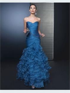 Blue Mermaid Sweetheart Organza 2014 Prom dresses