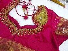 Back neck design Pattu Saree Blouse Designs, Saree Blouse Patterns, Choli Designs, Designer Blouse Patterns, Fancy Blouse Designs, Blouse Neck Designs, Kurti Patterns, Maggam Work Designs, Back Neck Designs