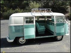 "1964 Volkswagen Kombi T2 model 234 | splitting the windshield and roofline into a ""vee"" helped the production Type 2 achieve a drag coefficient of 0.44. The Transporter first generation T2 pre 1967 [mistakenly called T1]"