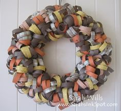 Curly Paper Wreath.  Wouldn't this be fabulous in bright, glitzy Christmas colors with some Bling Ribbon added!!  So simple to make.