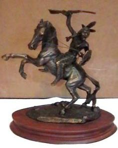 "Sioux Indian ""Crazy Horse"" C.A. Pardell Solid Bronze Sculpture 1986"