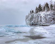 Intricate ice formations at the mouth of the beautiful Baptism River, MN