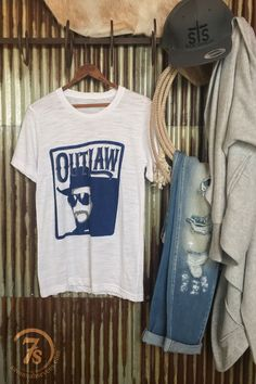"- ""Outlaw"" Waylon Jennings graphic t-shirt - Navy graphics on white burnout - Retro feel and design - Super soft and lightweight - Unisex sizing that's closer to men's, xsmall fits size 4/5 - Shown st"