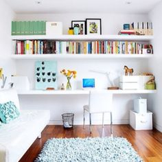 Color in drawers - love it. I want to paint the inside of my pantry too Home Office Ideas office idea.shelf Home Office Design, Pictures, . Style At Home, Home Office Design, House Design, Guest Room Office, Office Rug, Office Playroom, Office Nook, Basement Office, Office Spaces